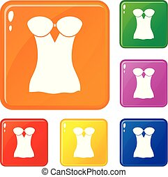 Vintage corset icons set vector color