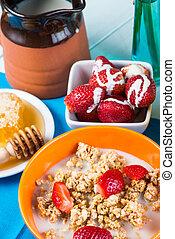 Vintage cottage style healthy breakfast
