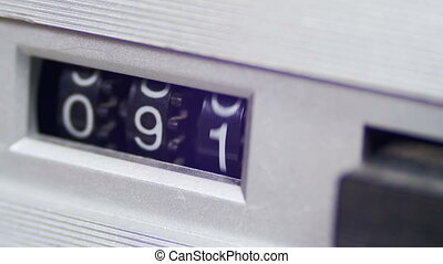 Vintage Counter with Numbers Rotates on the Audio Cassette player