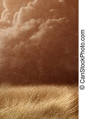 vintage country landscape - stormy
