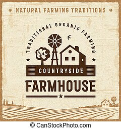 Vintage Countryside Farmhouse Label