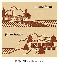 Vintage countryside landscape with farm scene - grunge farm houses emblem design