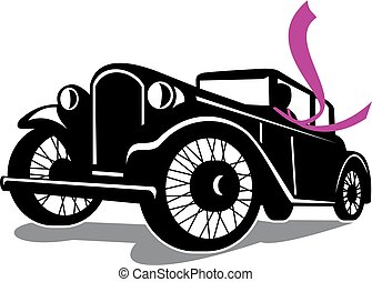 vintage-coupe-Ford A-scarf - Retro style illustration of...