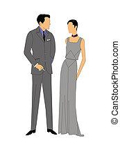 vintage couple in formal attire