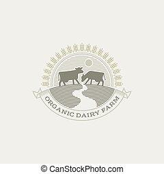 Vintage cow logo. Organic farm milk emblem. Dairy product engraving logo.