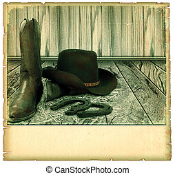 Vintage Cowboy background card on old paper for text