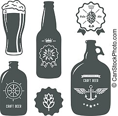 vintage craft beer brewery bottles label sign