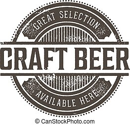 Vintage Craft Beer Stamp - Vintage style rubber stamp for...