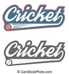 Vintage cricket label and badge. Vector Illustration...