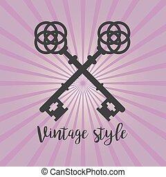 Vintage crossed keys on purple background