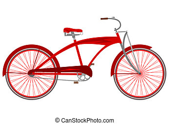 Red vintage cruiser bicycle on a white background.