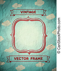 Vintage crumpled frame with clouds