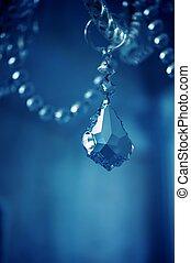 Vintage crystal chandelier details.