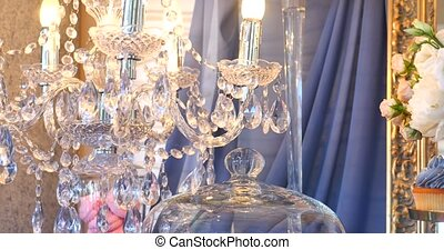 Vintage crystal lamp details close up