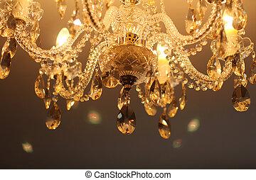 Vintage crystal lamp details, luxury