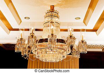 vintage crystal lamp inside theater