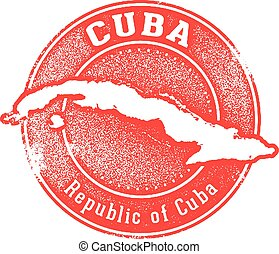 Vintage Cuba Country Stamp
