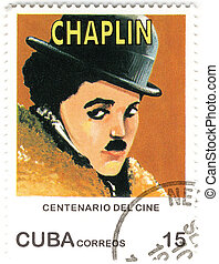 vintage CUBA stamp with Charles Spenser Chaplin