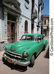 vintage cuban car - Picture of a old car in Cuba. Havana