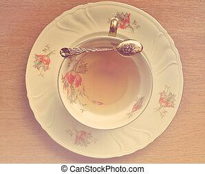 Vintage Cup of tea and teaspoon on wooden