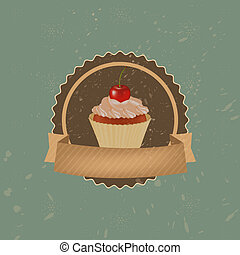 Vintage Cupcake With Cherry And Ribbon
