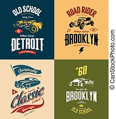 Vintage custom hot rod and classic car vector tee-shirt logo isolated set.