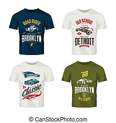 Vintage custom hot rod and classic car vector logo t-shirt mock up set.