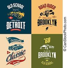Vintage custom hot rod and classic car vector tee-shirt logo...