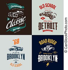 Vintage custom hot rod and classic car vector tee-shirt logo isolated set.