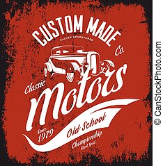Vintage custom hot rod motors vector logo concept isolated on red background.