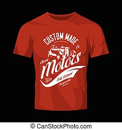 Vintage custom hot rod motors vector logo concept isolated on red t-shirt mock up.
