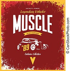 Vintage custom hot rod vector tee-shirt logo isolated on red background.