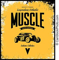 Vintage custom hot rod vector tee-shirt logo isolated on yellow background.