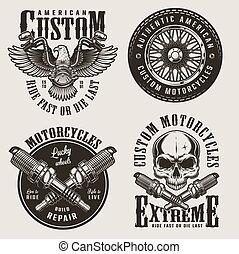 Vintage custom motorcycle badges set