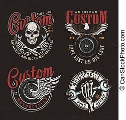 Vintage custom motorcycle colorful labels