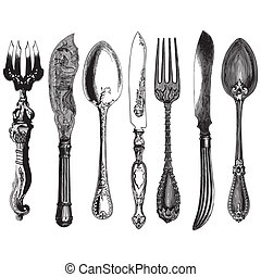 Vintage cutlery - Ancient style engraving of a set of...