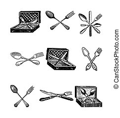 Antique style engraving of cutlery, spoon, knifes and forks