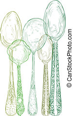 Vintage cutlery elements hand drawn set. - Retro transparent...