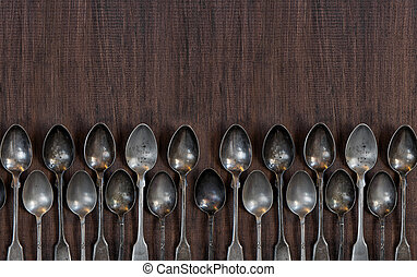 Vintage cutlery on the wooden table