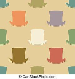 Vintage cylinder hat seamless pattern