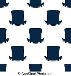 Vintage cylinder hat seamless pattern. Stylish retro print...