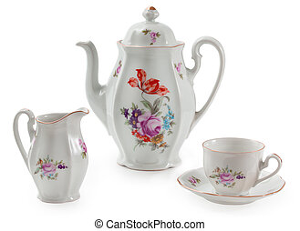 Vintage czech porcelain set for coffee, old style rich...