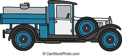 Vintage dairy tank truck - Hand drawing of a vintage dairy...