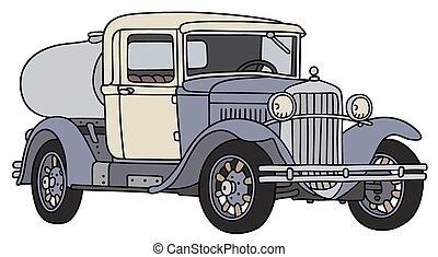 Vintage dairy tank truck - Hand drawing of a vintage dairy ...