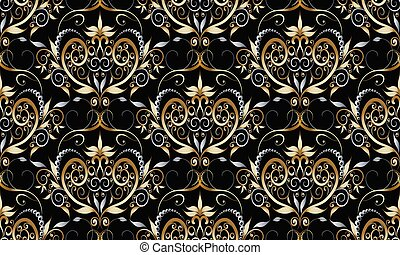 Vintage damask seamless pattern. Vector black floral background