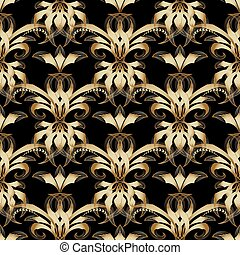 Vintage damask seamless pattern. Vector gold black background wi