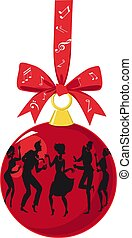 Vintage dance party Christmas ornament