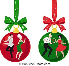 Vintage dancers Christmas decorations
