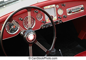 Vintage Dashboard - Interior of a classic sports car