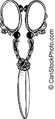 Vintage Decorated Scissors Black Ink Illustration - Inky old...